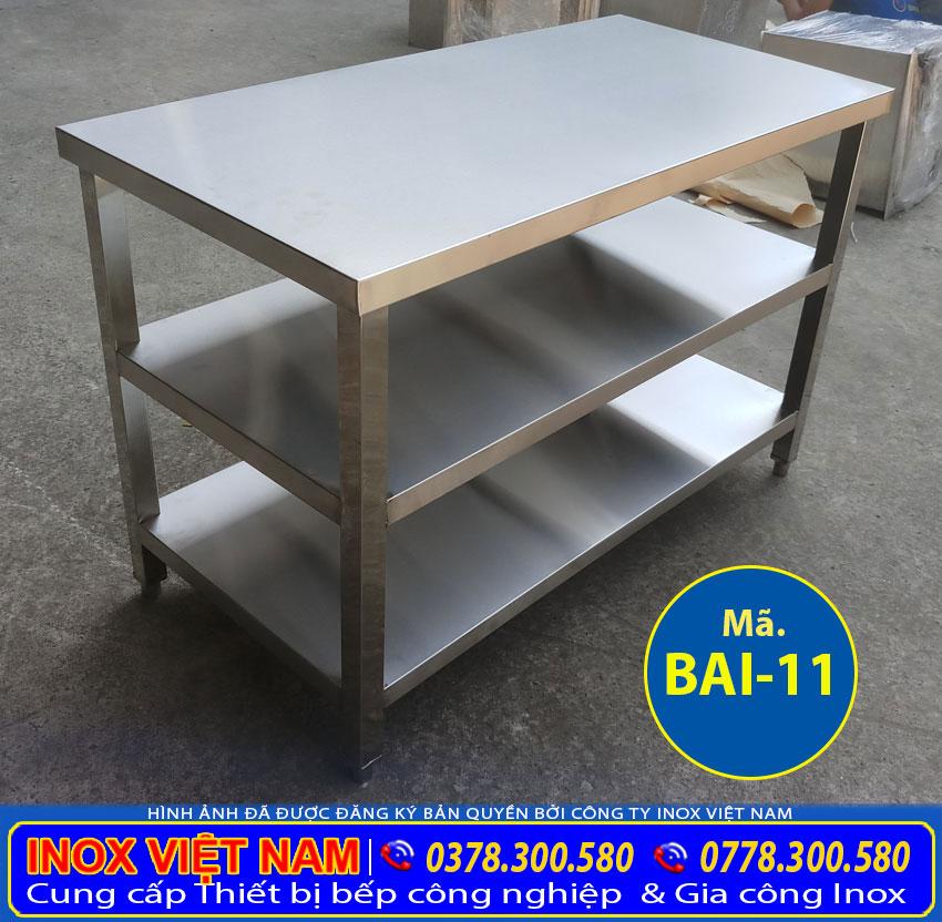 bàn inox 3 tầng, bàn bếp inox công nghiệp giá rẻ