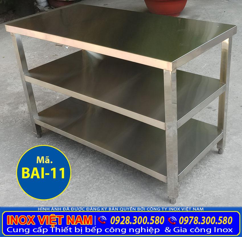 Báo giá bàn inox công nghiệp 3 tầng, bàn bếp 3 tầng, bàn inox 304