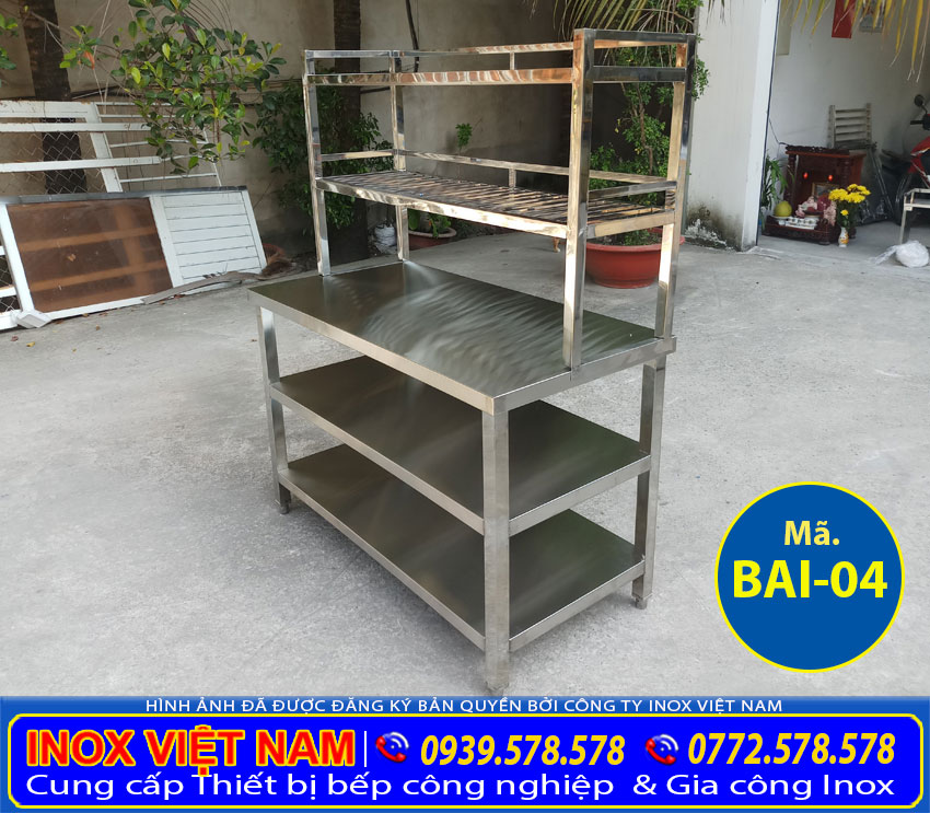 bàn inox có kệ trên chất lượng tại inox Việt Nam