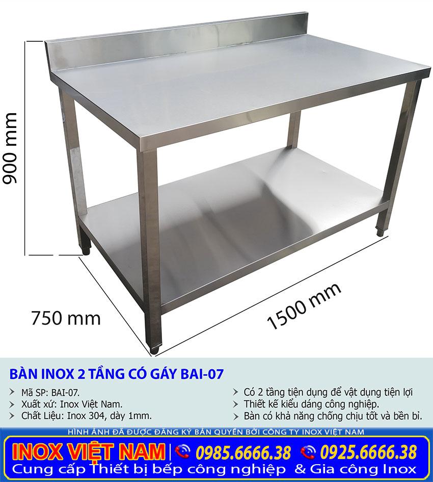 Kích thước bàn bếp inox công nghiệp BAI-07