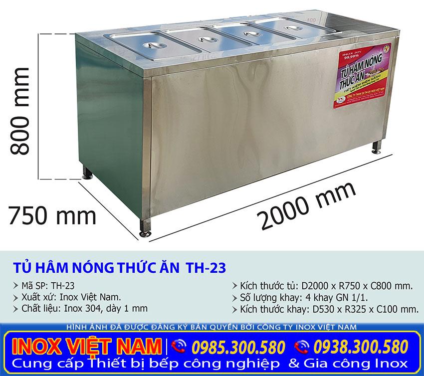 Kích thước tủ hâm nóng thức ăn TH-23