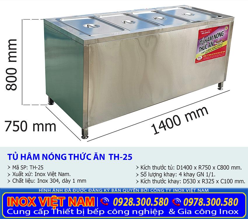Kích thước tủ hâm nóng thức ăn TH-25