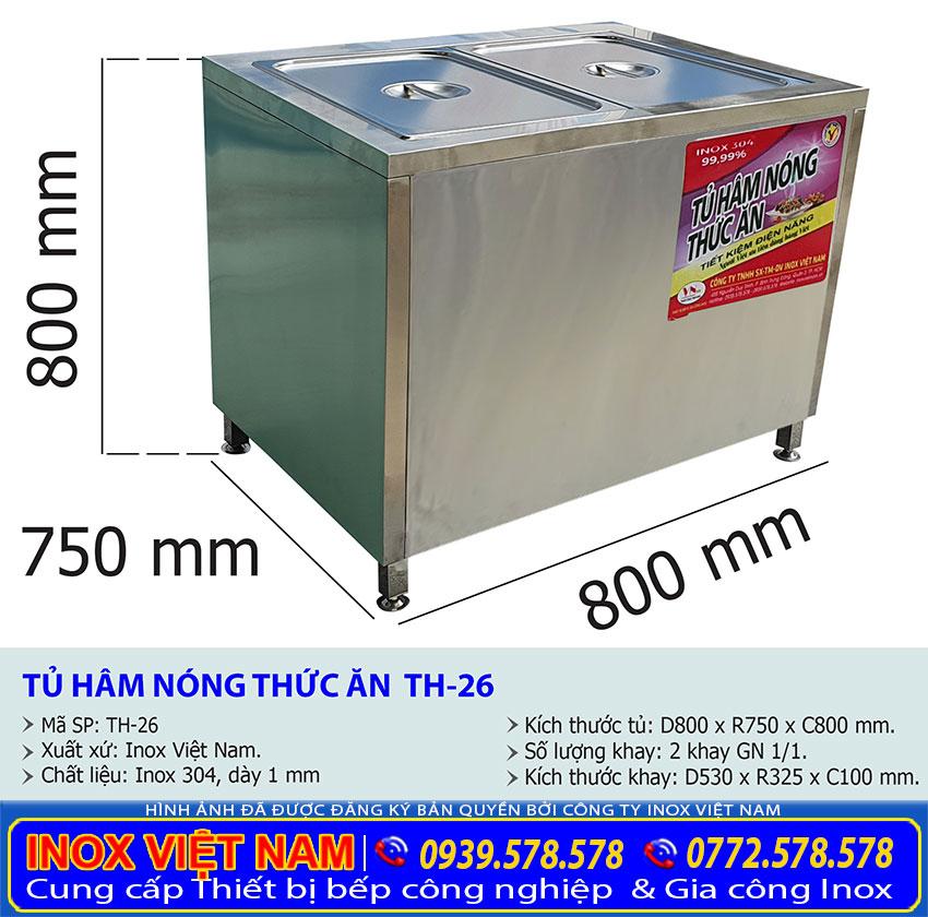 Kích thước tủ hâm nóng thức ăn TH-26
