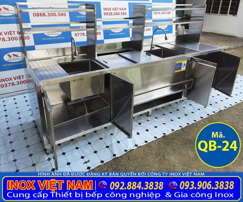 Quầy pha chế trà sữa inox 2m7 QB-24