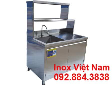 Tủ inox có bồn rửa và kệ trên chất lượng tại Inox Việt Nam