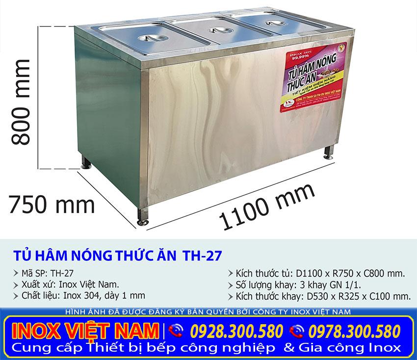 Tỷ lệ kích thước tủ hâm nóng thức ăn loại 3 khay TH-27