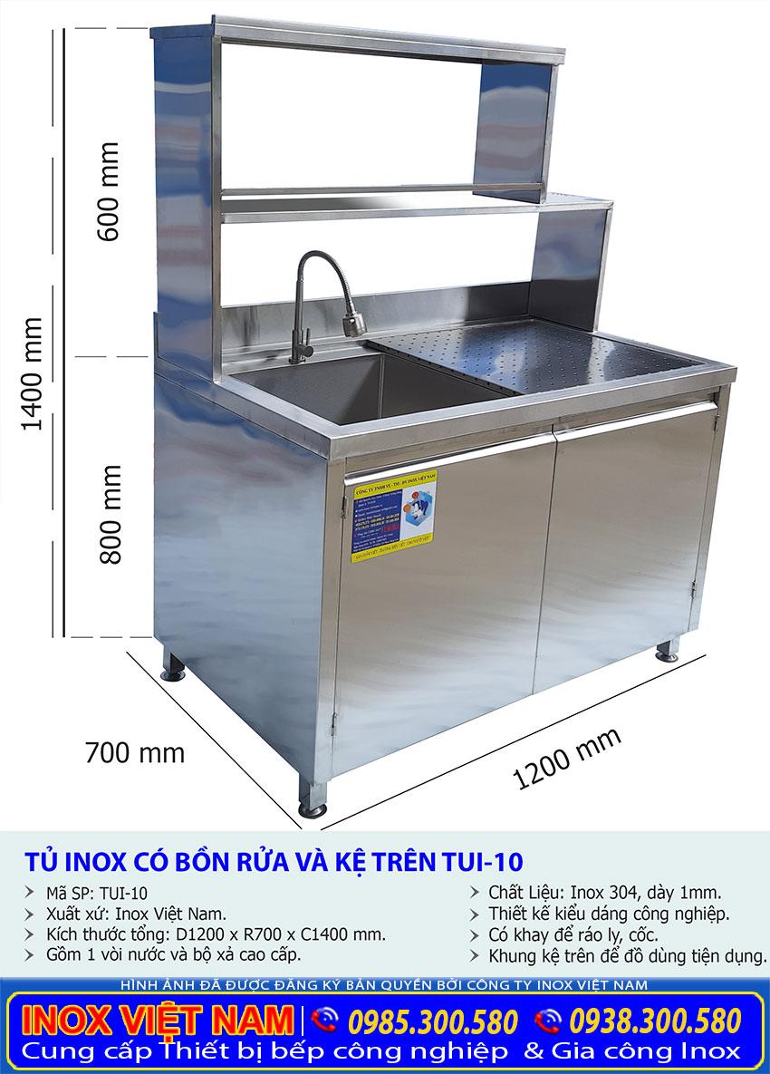 Tỷ lệ kích thước tủ inox có bồn rửa và kệ trên TUI-10