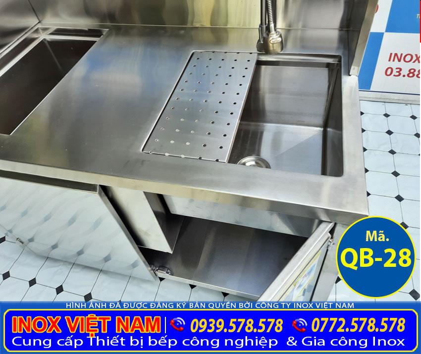 Bồn rửa ly quầy pha chế trà sữa inox mini QB-28