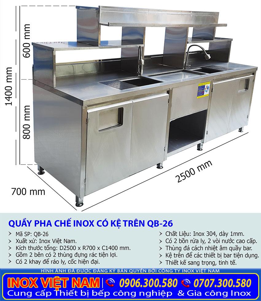 Kích thước quầy bar trà sữa inox QB-26