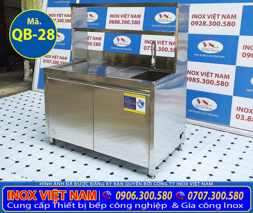 Mẫu thiết kế quầy pha chế trà sữa inox mini QB-28
