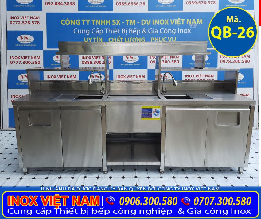 Quầy pha chế trà sữa inox QB-16