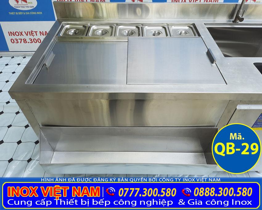 Quầy pha chế trà sữa inox QB-29 giá phải chăng