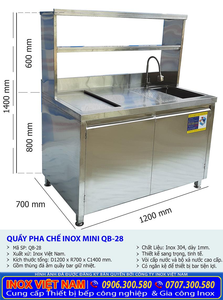 Tỷ lệ kích thước quầy bar inox QB-28