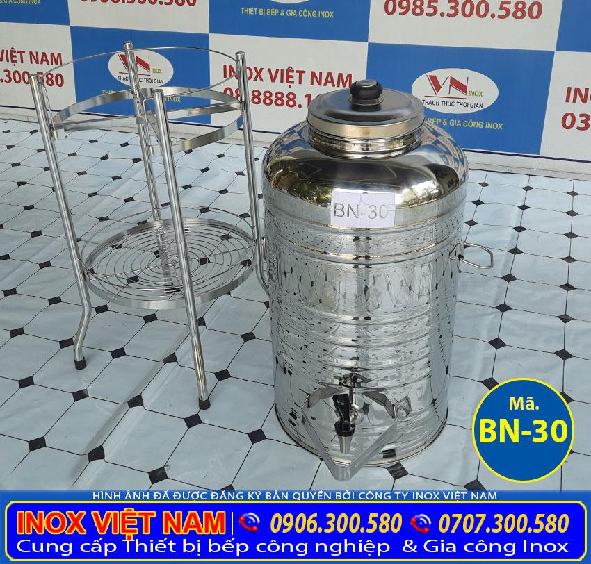 Chân bình nước inox 30 lít có vòi gạt