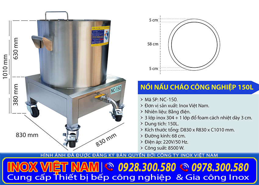 Thông số kỹ thuật nồi điện nấu cháo 150 lít