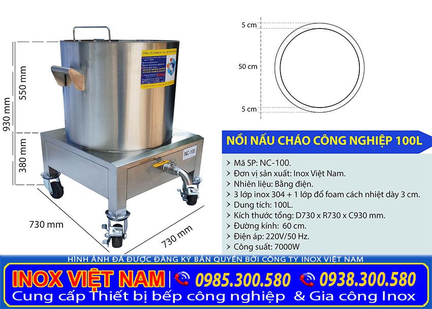 Thông số kỹ thuật nồi điện nấu cháo công nghiệp 100 lít NC-100