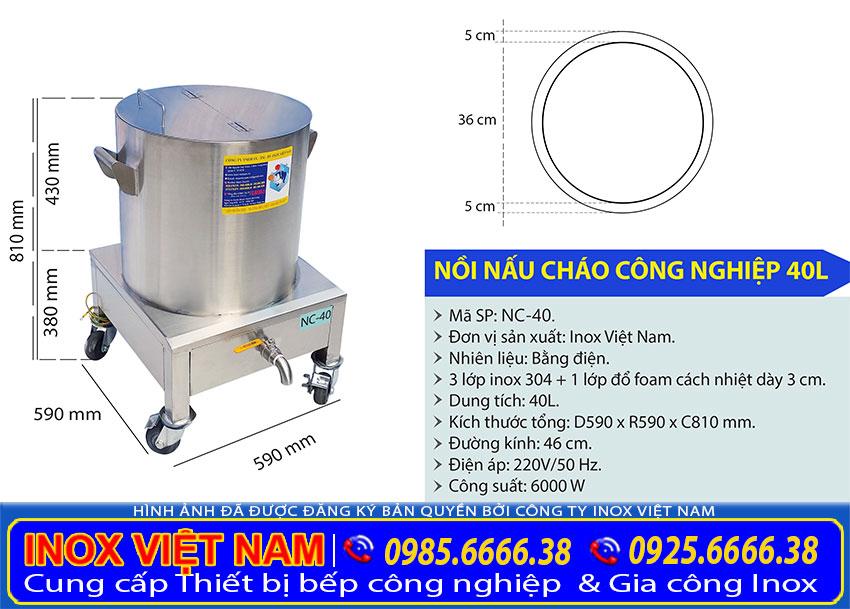 Thông số kỹ thuật nồi điện nấu cháo công nghiệp 40 lít