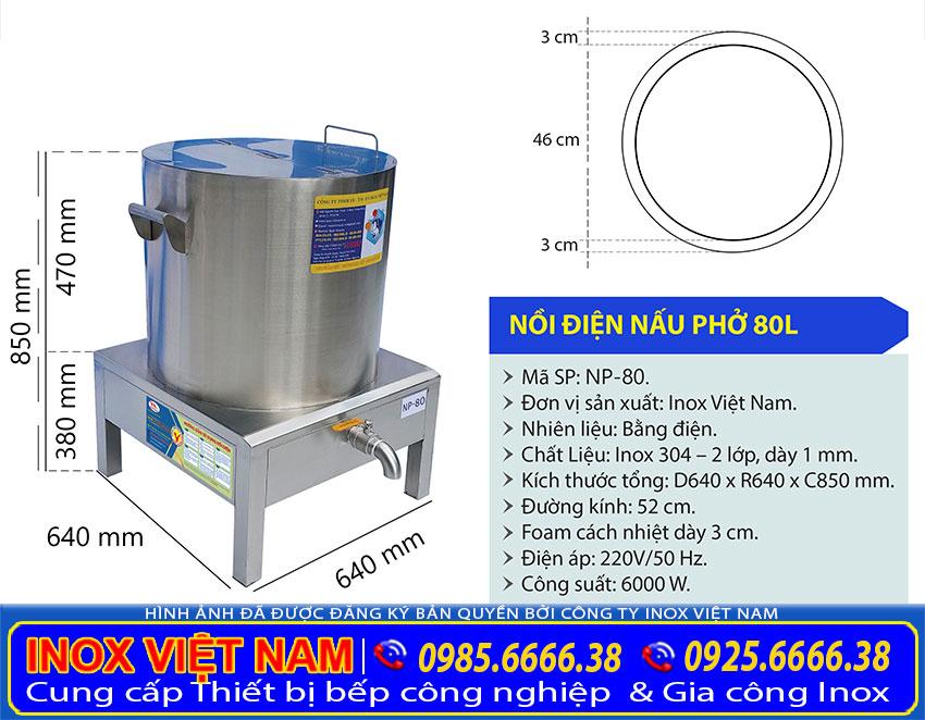 Tỷ lệ kích thước nồi điện nấu phở inox 80 lít