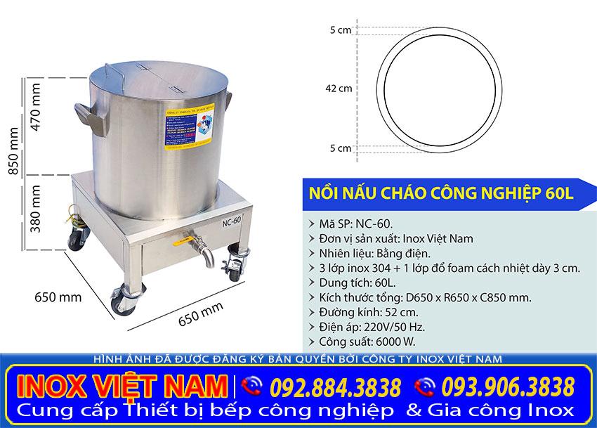Tỷ lệ kích thước nồi nấu cháo công nghiệp 60 lít NC-60