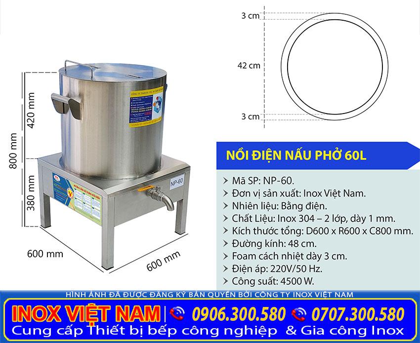 Tỷ lệ kích thước nồi nấu phở bằng điện 60 lít NP-60