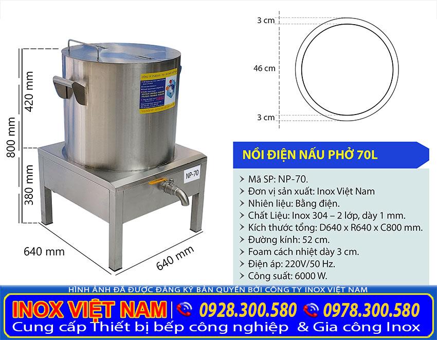 Tỷ lệ kích thước nồi nấu phở bằng điện 70 lít IVN
