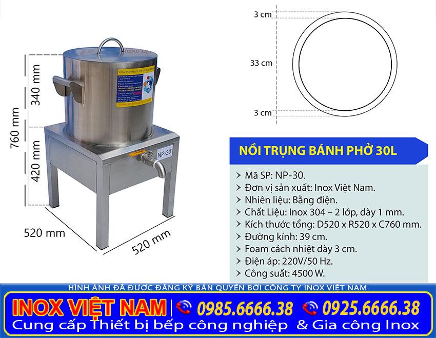 Tỷ lệ kích thước nồi nấu phở bằng điện 30 lít NP-30