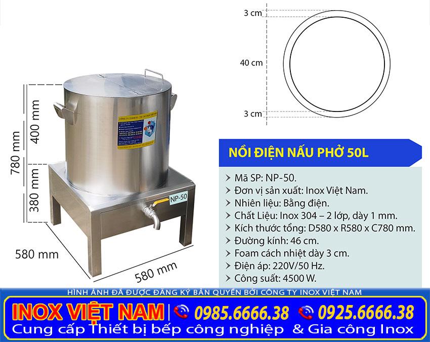 Tỷ lệ kích thước nồi phở điện 50 lít NP-50