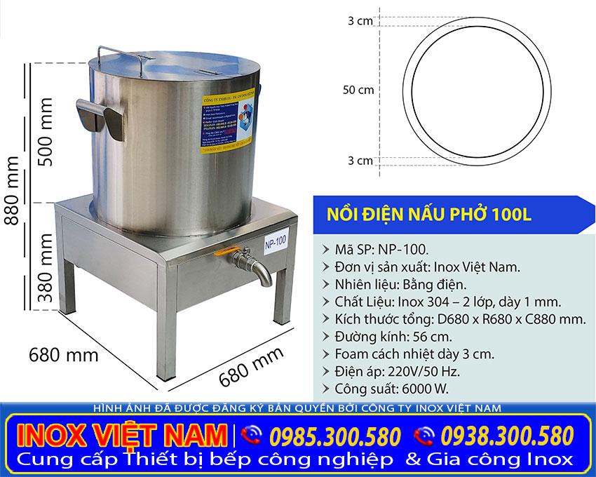 Tỷ lệ kích thước nồi phở inox sử dụng điện 100 lít
