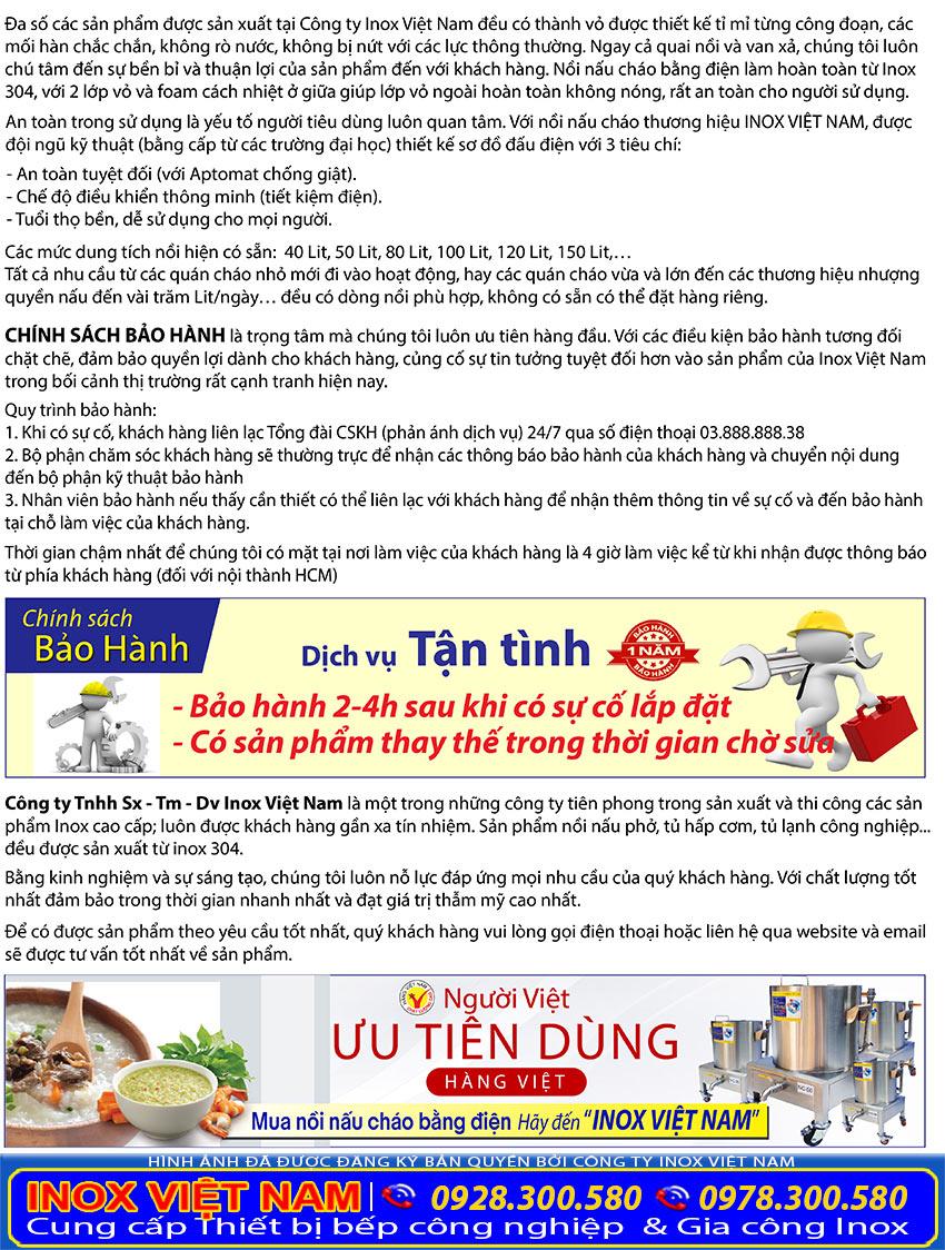 Chính sách bảo hành tại Inox Việt Nam