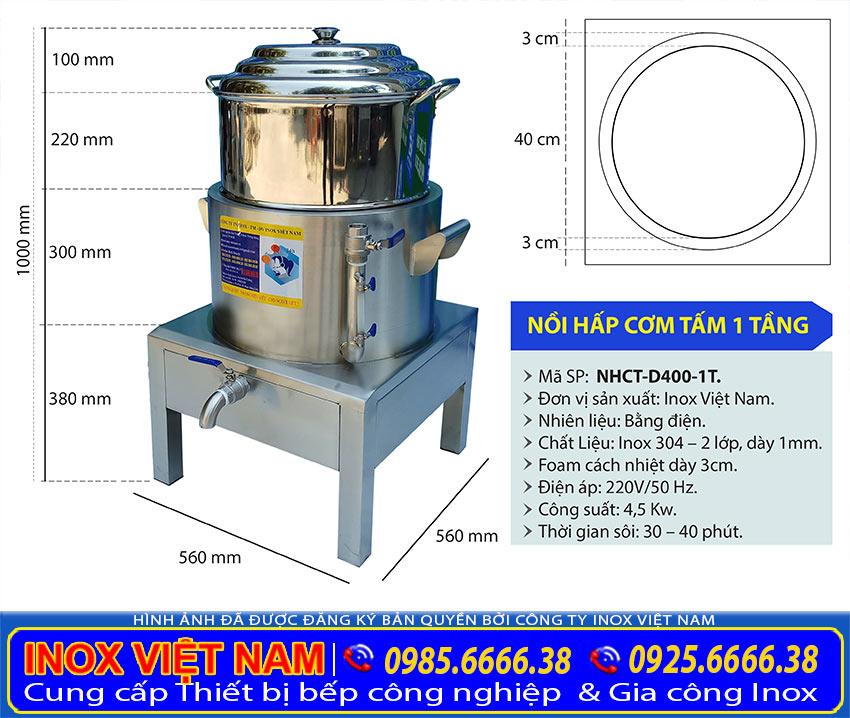 Kích thước nồi điện hấp cơm tấm 1 tầng D400-1T