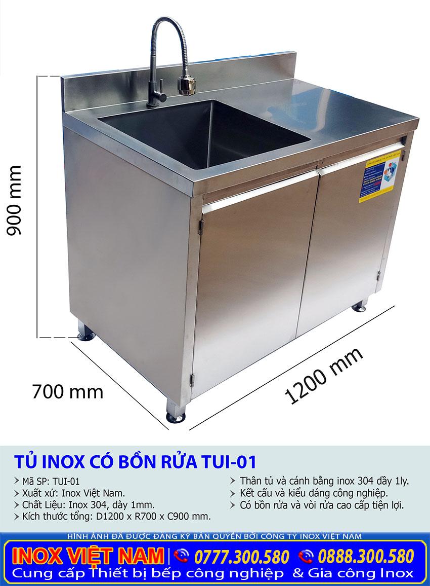 Kích thước tủ inox có bồn rửa TUI-01