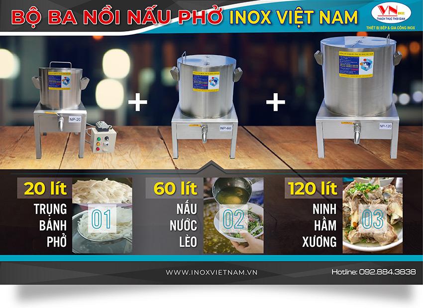 Bộ ba nồi nấu phở bằng điện 20 lít 60 lít 120 lít