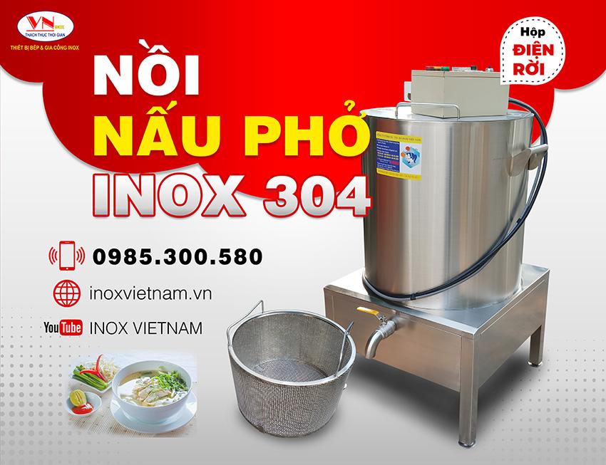 Nồi nấu phở inox 304 sử dụng hộp điện rời