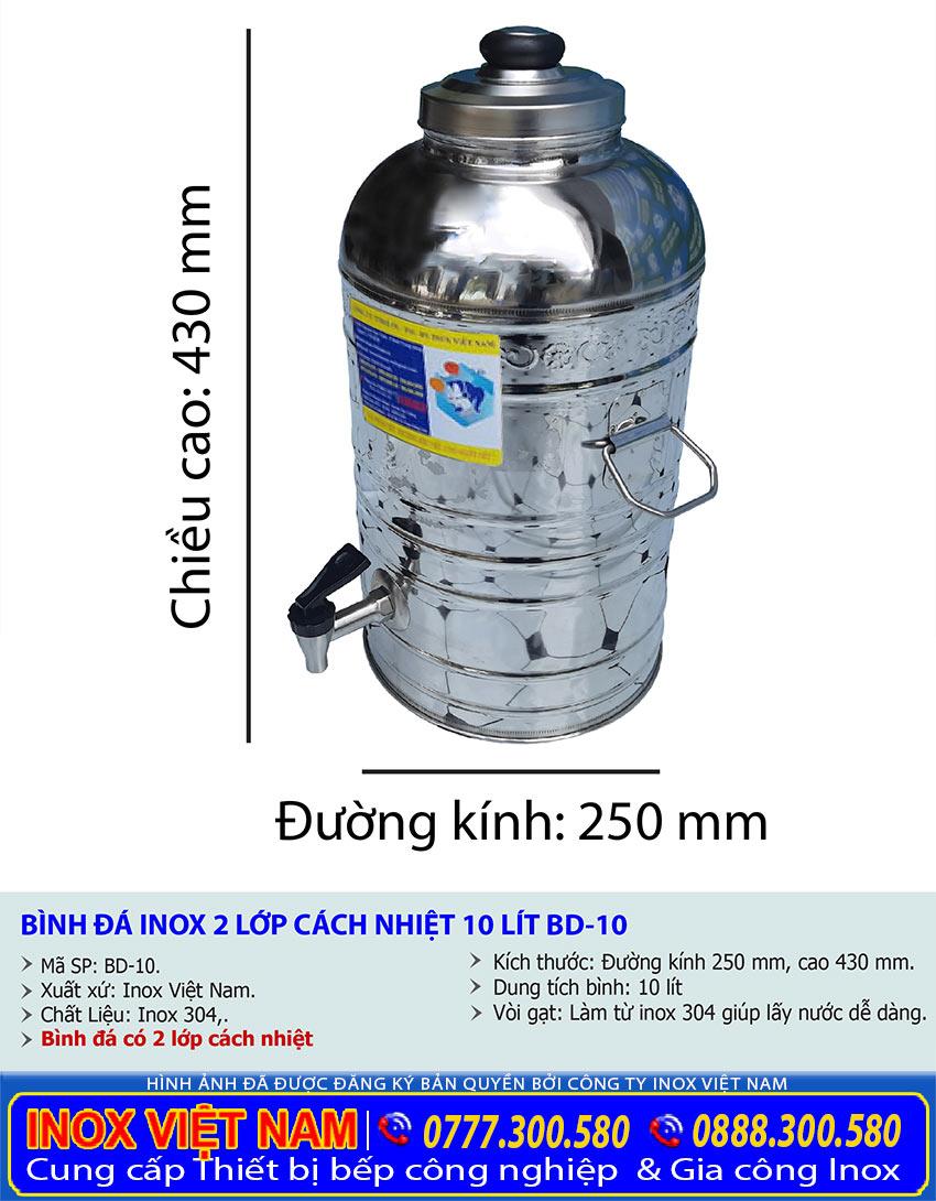Thông số kỹ thuật bình đựng nước cách nhiệt 10 lít