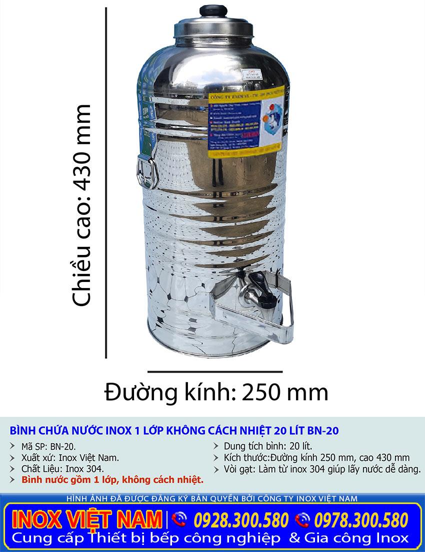 Thông số kỹ thuật bình đựng nước đá inox 20 lít có vòi gạt