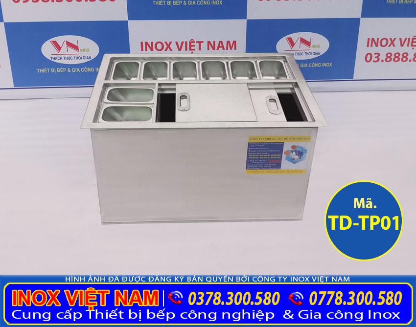 Báo giá thùng đá inox âm bàn có khay topping TD-TP01
