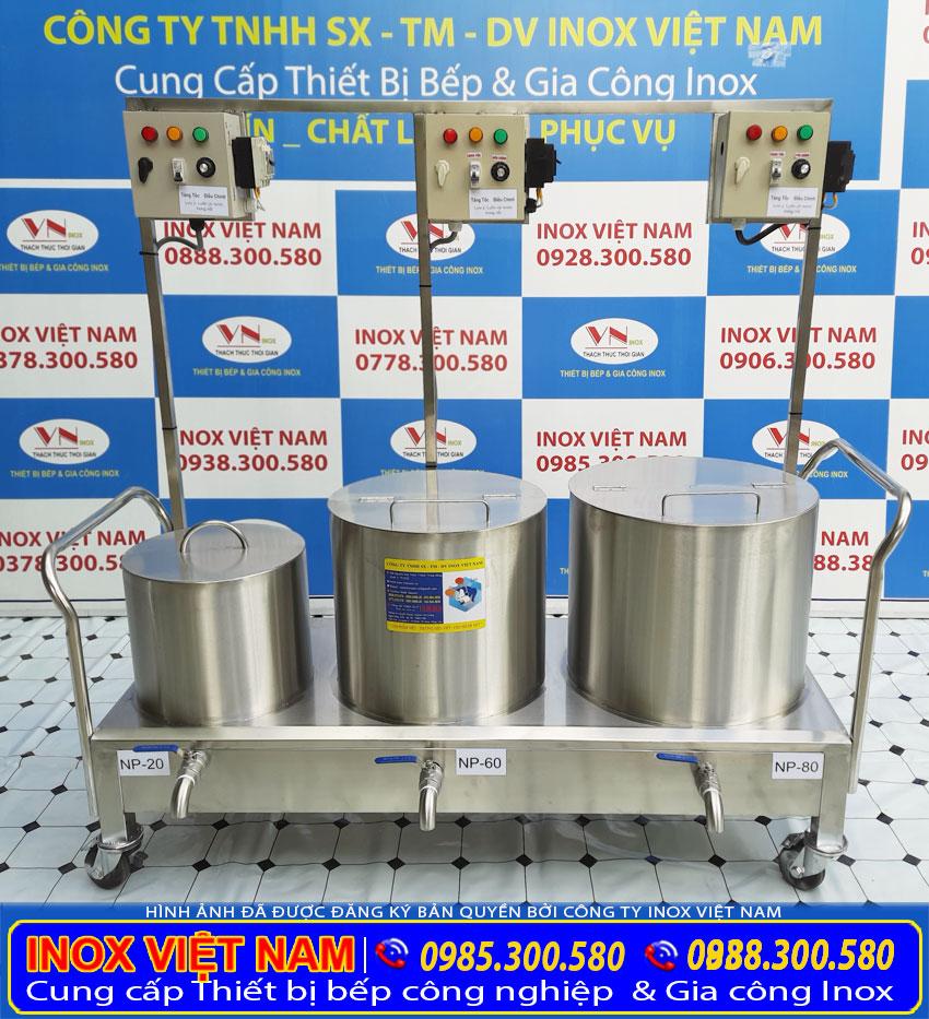 Bộ 3 nồi nấu phở liền bệ 20l 60l 80l chất lượng, giá tốt