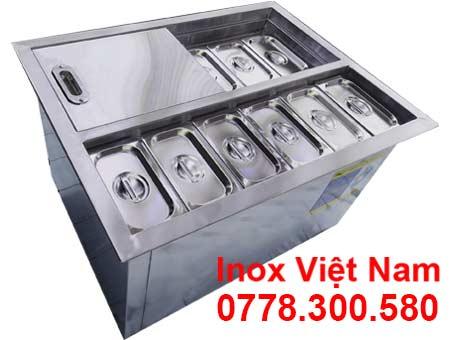 Mẫu thùng chứa đá inox có khay topping TD-TP13 giá tốt chất lượng cao
