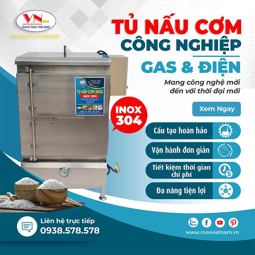Tủ nấu cơm công nghiệp dùng điện và gas chất lượng cao