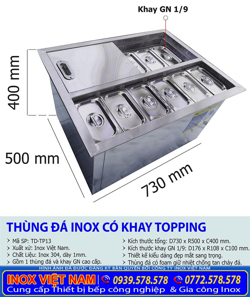 Tỷ lệ kích thước thùng đá inox có khay topping TD-TP13