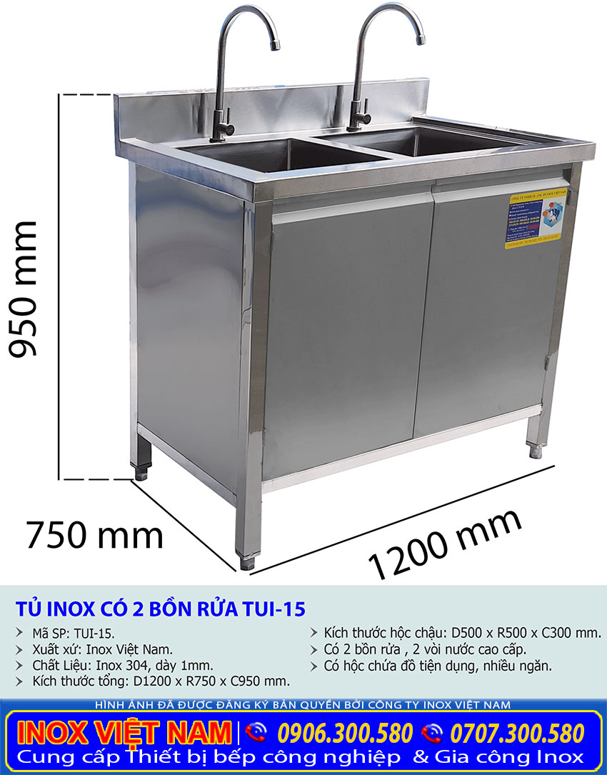 Kích thước tủ bồn rửa bát 2 hộc chậu