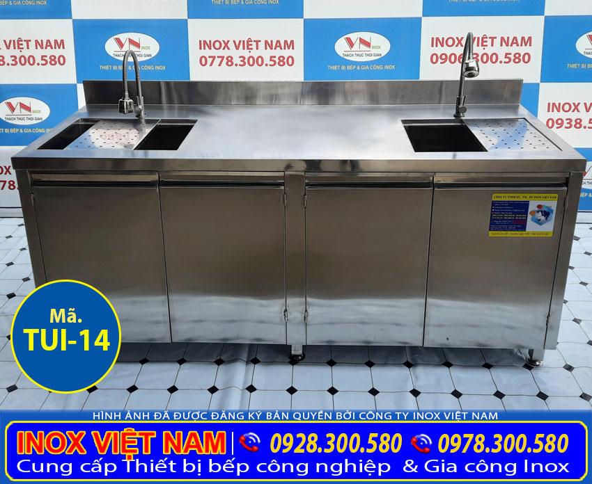 Tủ bồn rửa chén bát 2 ngăn inox 304