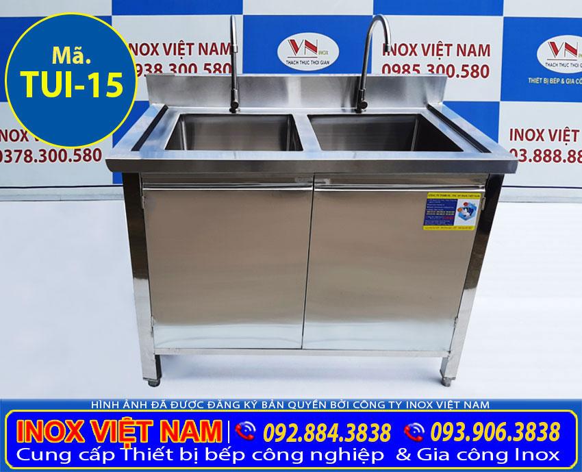 Tủ bồn rửa chén inox 2 ngăn chậu TUI-15