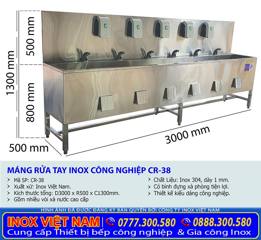 Tỷ lệ kích thước chậu rửa tay inox công nghiệp CR-38