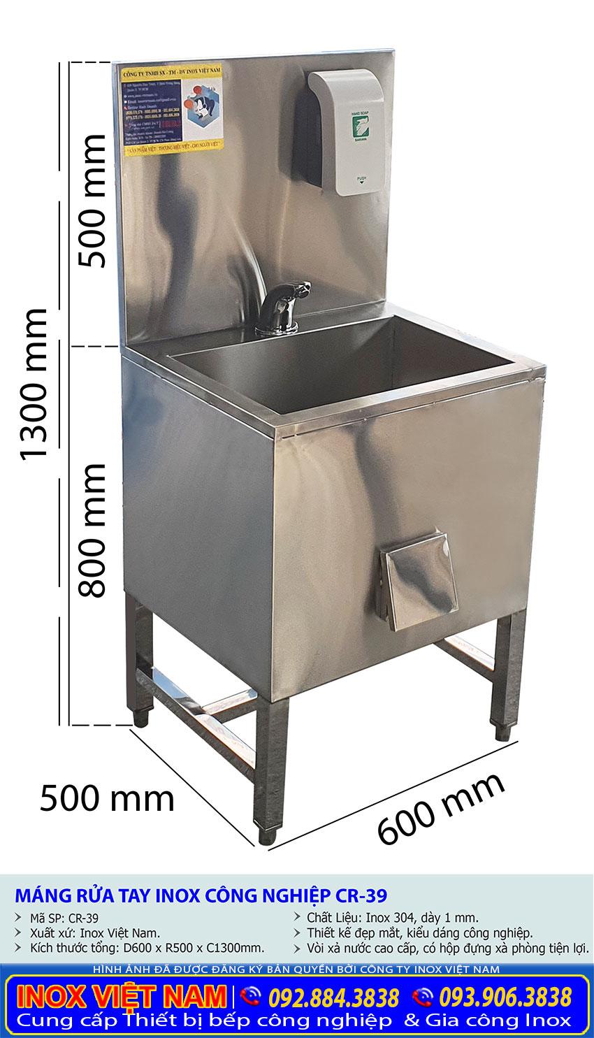 Tỷ lệ kích thước máng rửa tay inox công nghiệp CR-39