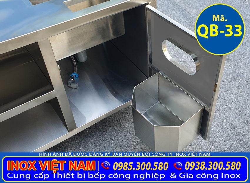 Thùng rác quầy pha chế inox QB-33
