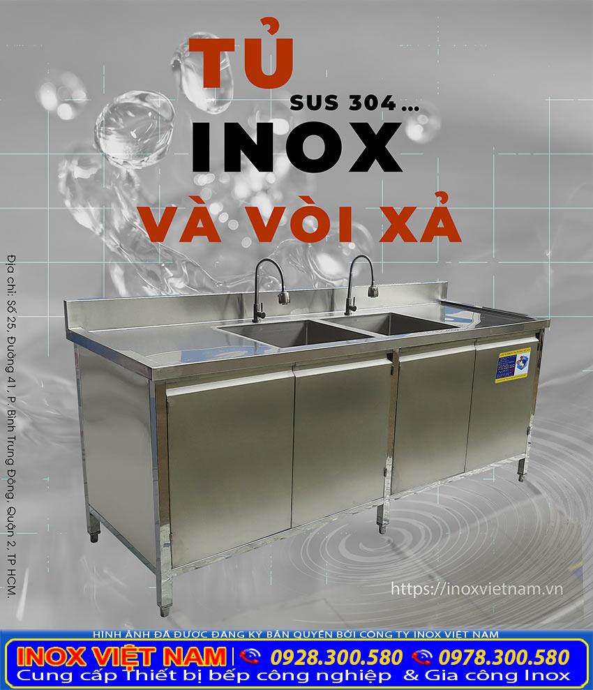 Tủ inox 304 có vòi xả chất lượng cao