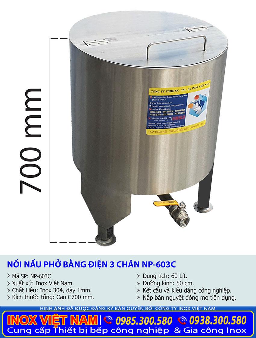 Tỷ lệ kích thước nồi nấu phở bằng điện 3 chân NP-603C