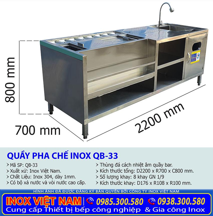 Tỷ lệ kích thước quầy pha chế inox QB-33