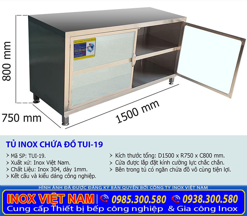Tỷ lệ kích thước tủ inox chứa đồ TUI-19